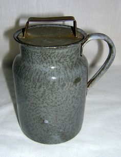 Antique Gray Graniteware Cream Can