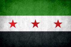 anti Assad free Syria flag aka the Syrian refugee flag