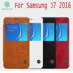 "Original Nillkin Qin PU leather case for Samsung galaxy J7 2016 J710F J710M J710H flip cover 5.5"" with free gift"