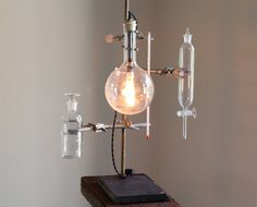 Industrial desk lamp steampunk antique chemistry laboratory science biology apothecary light boiling flask with vintage style bulb