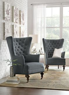 home accents living room Home Decorators Collection Remmy Velvet Slate Upholstered Arm Chair Armchairs And Accent Chairs, Accent Chairs For Living Room, Formal Living Rooms, Living Room Furniture, Home Furniture, Living Room Decor, Furniture Design, Wing Chairs, Arm Chairs