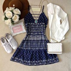 Vestido Luana Na Viscose/Forrado ( Fundo Azul)
