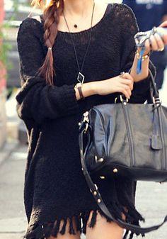 Fringe Knit Sweater - Black