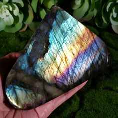 Add this gorgeous Rainbow Labradorite crystal to your home or office space. This colorful decor piece will brighten your day! See the new releases and the full Labradorite collection at crystalrockstar.etsy.com Desk Yoga, Wiccan Altar, Makeup Desk, Sacred Geometry Art, Crystal Decor, Types Of Lighting, Desk Accessories, Brighten Your Day, Rocks And Minerals