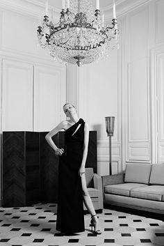 Yves Saint Laurent couture // one shoulder black gown & strappy heels #style #fashion #whattoweartoawedding