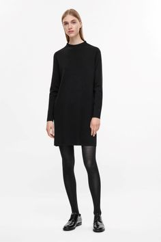 COS image 1 of A-line merino dress in Black