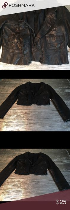 Old Navy Leather Jacket Black short leather tie up jacket Old Navy Jackets & Coats Blazers