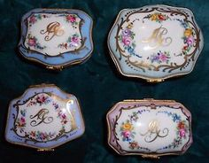 4-Antique-French-Sevres-Limoges-Hand-Painted-Trinket-Boxes-Gold-Gilt-Lot