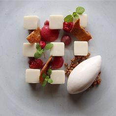 Tonka Bean Panna Cotta, Poached Raspberries, Raspberry Foam, Buckwheat Ice Cream & Candied Buckwheat Groats @seanymacd @laurie.oakesrafacovarrubias