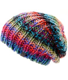 Add a pop of color to any outfit with this colorful slouchy beanie made with a chunky thick knit construction for comfort and warmth.