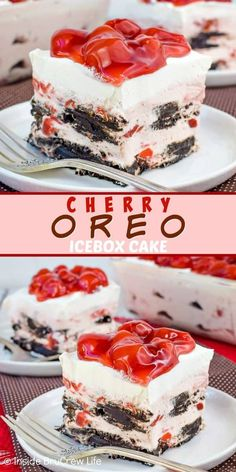 Cherry Oreo Icebox Cake - no bake cherry cheesecake and dark chocolate cookies make the layers in this icebox cake so pretty and delicious Easy recipe to make when it is too hot to bake this summer iceboxcake cherry oreo darkchocolate nobake Oreo Icebox Cake, Icebox Desserts, Frozen Desserts, No Bake Desserts, Easy Desserts, Delicious Desserts, Dessert Recipes, Delicious Chocolate, Icebox Cake Recipes