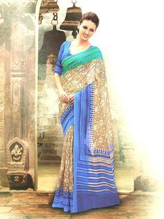 Shop For Bhagalpuri Silk Cream and Blue Lining only at Indian Sarees, Silk Sarees, Lehenga Choli, Sari, Casual Saree, Western Dresses, Printed Sarees, Saree Collection, Sarees Online