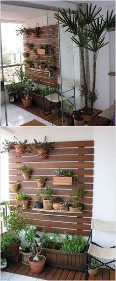 77 cool ideas for space-saving furniture, with which you coquettishly design the small balcony - Balkon Ideen Walled Garden, Terrace Garden, Herb Garden, Easy Garden, Outdoor Walls, Outdoor Spaces, Outdoor Balcony, Outdoor Living, Apartment Balconies