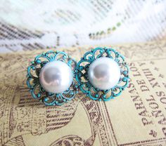 Tiffany Turquoise Wedding Jewelry Pearl Earrings by Jewelsalem