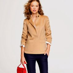 Love this!! khaki blazer, red bag, blue jeans. easy and classically cute!