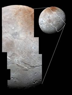 High-resolution images of Charon were taken by the Long Range Reconnaissance Imager on NASA's New Horizons spacecraft, shortly before closest approach on July 14, 2015, and overlaid with enhanced color from the Ralph/Multispectral Visual Imaging Camera (MVIC). Charon's cratered uplands at the top are broken by series of canyons, and replaced on the bottom by the rolling plains of the informally named Vulcan Planum.