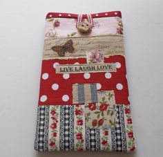This lovely phone case will fit an Iphone, HTC Cha Cha or phones of a similar size. The case has. Mobile Phone Cases, Diy Phone Case, Phone Cover, Homemade Mobile, Wallet Sewing Pattern, Mobile Covers, New Iphone, Hobbies And Crafts, Sewing Projects