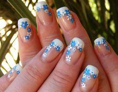 15 Diseños de Uñas con Flores - ε Diseños e Ideas originales para Decorar tus Uñas з Nail Art Flower, Flower Nail Designs, Nail Designs Spring, Simple Nail Designs, Acrylic Nail Designs, Nail Art Designs, Acrylic Nails, Art Nails, Gel Nail