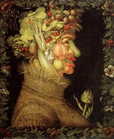 Renaissance artist Giuseppe Arcimboldo was perhaps the first artist to use food to create a mosaic image, though his work was in paint, not made of food itself. This image, 'Summer', is part of a seasonal series and features a human profile made up of fruits and vegetables.