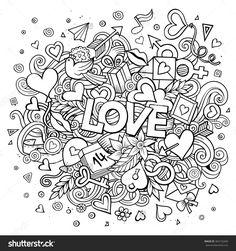 Cartoon Vector Hand Drawn Doodle Love Illustration. Line Art Design Background…