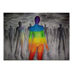 A rainbow in a colorless world, an acrylics on canvas painting about being different