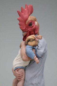 Animal Masks, Animal Heads, Mixed Media Sculpture, Sculpture Art, Human Zoo, Felt Mask, Contemporary Sculpture, Italian Artist, Art Of Living