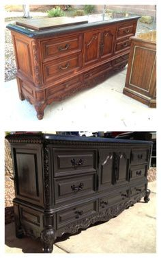Vintage shabby refinished painted before and after refurbished furniture DIY mak. Vintage shabby r Refurbished Furniture, Paint Furniture, Repurposed Furniture, Furniture Projects, Furniture Makeover, Furniture Design, Furniture Refinishing, Dresser Makeovers, Furniture Decor