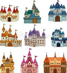 cartoon castle icon set