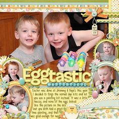 Eggtastic Masterpiece Easter Scrapbook Layout by Jen22 #digiscrap