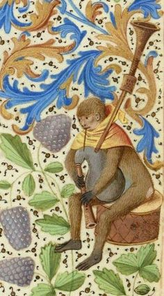 Monkey playing the bagpipe, Fr. 2643, 15th c. BnF.