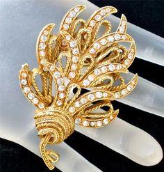 Har Gold Rhinestone Vintage Brooch Signed High End Pin Estate Jewelry Designer   eBay