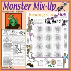 Kids love to read about them and see them in their favorite TV shows. So, they'll love this exciting, colorful puzzle kit, which offers plenty of fun monster-y details while teaching a range of vocabulary, rhyme and alliteration. Halloween Word Search, Halloween Puzzles, Halloween Words, Halloween Fun, Worksheets, Printable Puzzles For Kids, Reading Logs, Alliteration, Autumn Activities