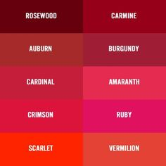 Burgundy vs Garnet Color Chart | ... red burgundy wine maroon crimson vermilion oxblood ruby puce claret