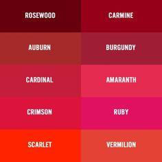 Burgundy vs Garnet Color Chart | ... red burgundy wine maroon crimson vermilion oxblood ruby puce claret