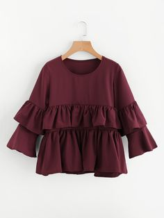 SheIn offers Tiered Frill Layered Blouse & more to fit your fashionable needs. Modern Hijab Fashion, Fashion Wear, Girl Fashion, Stylish Dresses For Girls, Trendy Outfits, Pakistani Dresses Casual, Casual Dresses, Girls Fashion Clothes, Fashion Dresses