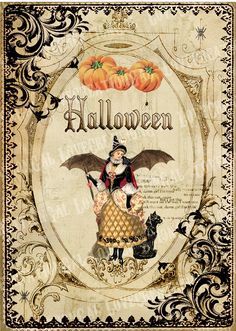 Vintage Halloween Witch Girl Fairy whimsical Bat Pumpkin Frame Paris French from Etsy: Retro Halloween, Photo Halloween, Vintage Halloween Cards, Halloween Pictures, Vintage Holiday, Holidays Halloween, Spooky Halloween, Halloween Crafts, Happy Halloween