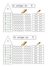 Zahlen zerlegen 8 und 9