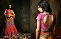 Beautiful collection of Pure Silk Wedding Lehenga with heavy embroidery work en-crafted in Pink and Orange color. Along with Contrast Matching Pure Silk Duppatta and Blouse.