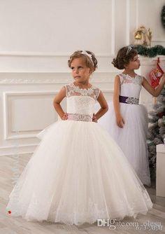 2015 Sommer-Blumen-Mädchen-Kleider für Hochzeiten Ballkleid Prinzessin bodenlangen weißen Spitze-Tulle Appliques Kleinkind-Partei-Kleid-Festzug-Kleider