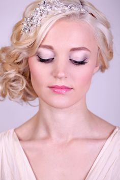 Beautiful blonde bride with shimmering pastel eye makeup and Miranda Templeton hair piece from Jennie Cross Brides. Hair by Tracey Ward, Makeup by Love Moi Makeup and photography by Rekha Garton.