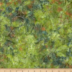 Jinny Beyer Malaam Batiks Forest Blossom Green from @fabricdotcom  Designed by Jenny Beyer for RJR, these Indonesian batiks are perfect for quilting, apparel and home decor accents.  Colors include shades of green, shades of rust and shades of grey.