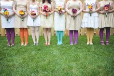 """Not a total spectrum but what a lovely idea for a wedding """"Hey bridesmaids - wear beige and strappy shoes, go wild with your legs and matching bouquets - OK? See you on the day""""!!!"""