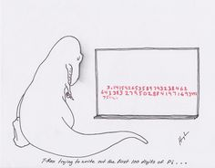 T-Rex Trying to Write Out the First 100 Digits of Pi… (Happy Pi Day)