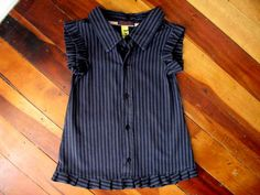 upcycled mens dress shirt | Gorgeous Upcycled Super-Stripey Shirt-Dress ~ Businessy Blue Stripes ...