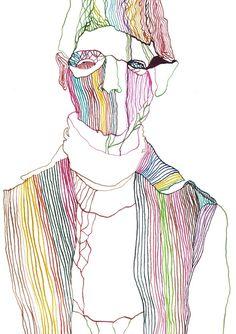 Fashion illustration inspired by Sonne Illustration, Illustration Artists, Fashion Illustration Face, Fashion Illustrations, Blind Drawing, Psychedelic Art, Doodle, Art Inspo, Line Art