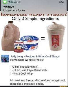 Homemade Wendy's chocolate frosty recipe. I can't wait to try it! Homemade Wendy's chocolate frosty recipe. I can't wait to try it! Homemade Wendy's chocolate frosty recipe. I can't wait to try it!