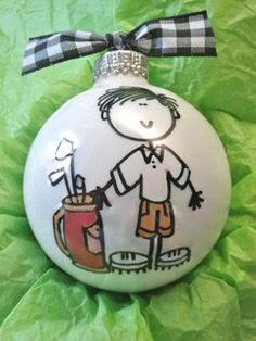 PAINTED ORNAMENT GLOBES | Golfer Ornament Hand Painted and Personalized. Holy crap these are ...