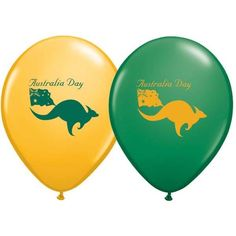 Australia Day Latex Balloons, Party Decorations with kangaroos and a flag. Green and yellow / gold colours Australia Day, National Holidays, Day Work, Latex Balloons, Green And Gold, Open House, Party Supplies, Colours, Kangaroos