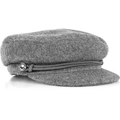 Burberry Peaked wool-felt cap ($158) ❤ liked on Polyvore featuring accessories, hats, cappelli, burberry, grey, women, peaked cap, grey cap, burberry hat and wool hat