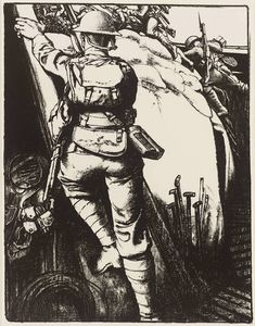 Making Soldiers: Over the Top by Eric Kennington (1917)